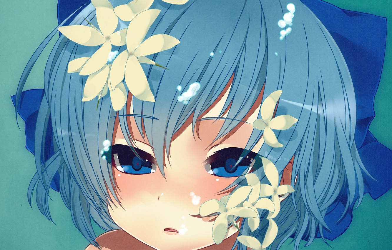 Photo wallpaper girl, flowers, bubbles, art, bow, under water, touhou, cirno, skull.03