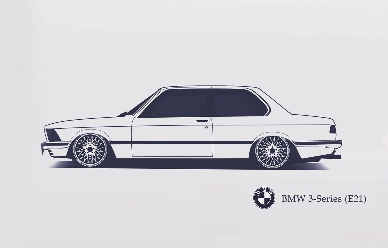 Photo wallpaper BMW, E21, Minimalistic, SrCky Design, 3-Series