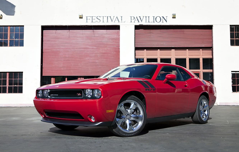 Photo wallpaper car, red, the building, 2012, Dodge Challenger, Kar, super, R/T, Festival Pavilion