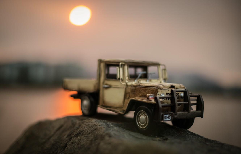 Photo wallpaper macro, stream, model, toy, truck, shooting, machine, pickup, photo, photographer, model, Jamie Frith