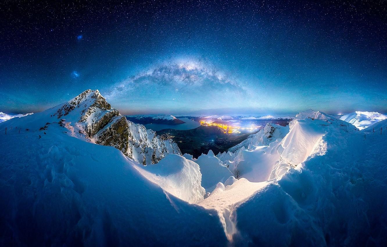 Photo wallpaper winter, snow, mountains, night, the milky way