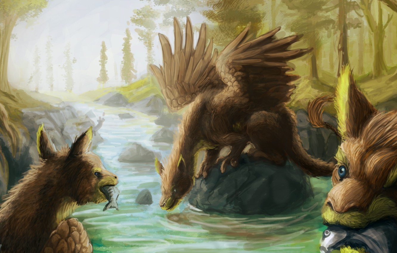 Photo wallpaper fish, river, stones, wings, fantasy, art, creatures, griffins
