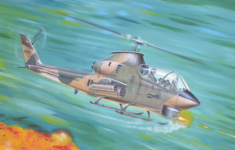 Wallpaper war, art, helicopter, painting, vietnam war, Bell