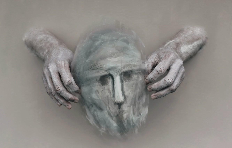 Photo wallpaper background, hands, mask