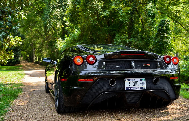 Photo wallpaper trees, shadow, ferrari, Ferrari, black, f430, back, scuderia, Cherny, F430 Scuderia