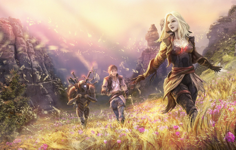 Photo wallpaper field, girl, mountains, fantasy, rocks, guy, Golem, adventure