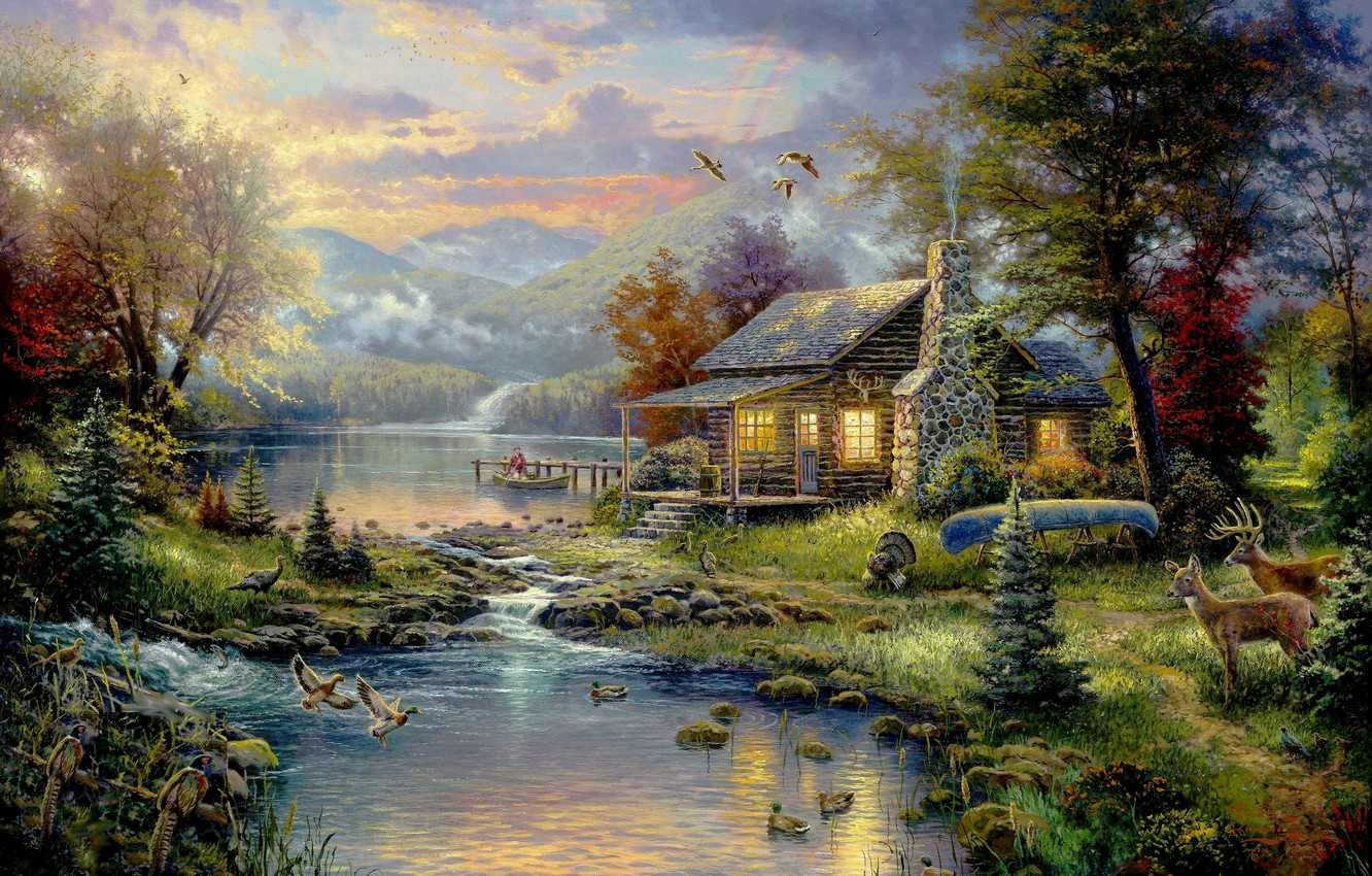 Photo wallpaper forest, trees, mountains, birds, house, river, boat, Picture, house, forest, painting, deer, river, nature, art, …