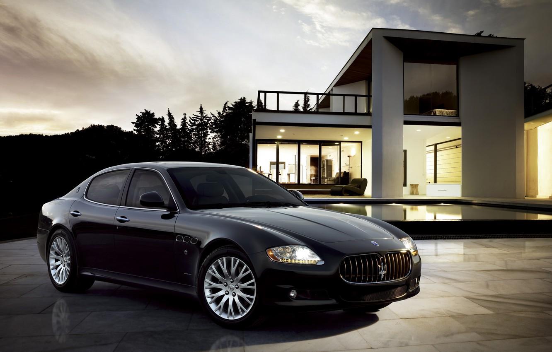 Photo wallpaper Maserati, Quattroporte, The evening, Black