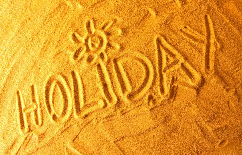Photo wallpaper sand, sea, beach, the sun, the inscription, stay, beach, Holiday, weekend