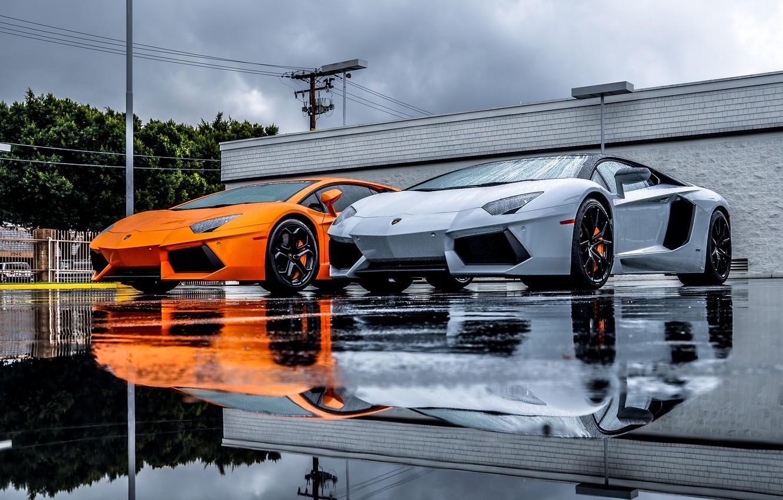 Photo wallpaper Lamborghini, Grey, Orange, Orange, LP700-4, Aventador, Supercars, Silver, Supercars