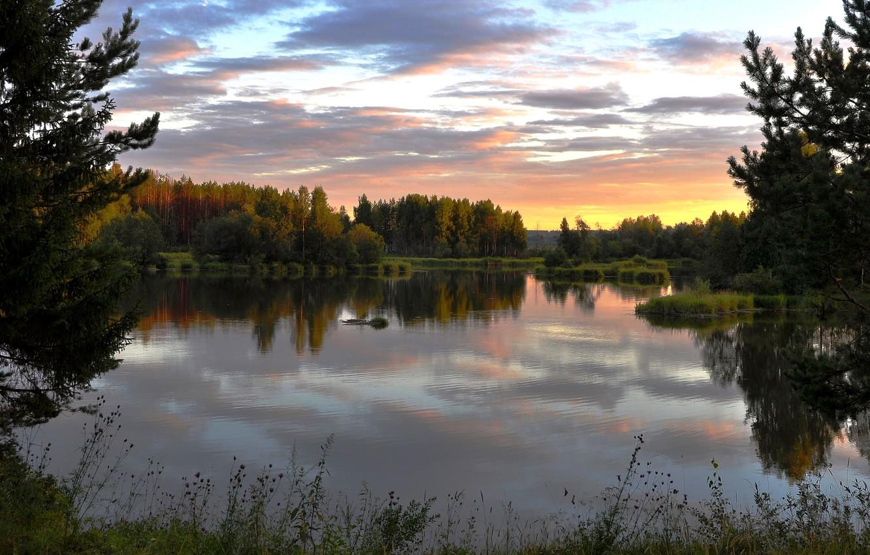Photo wallpaper sunset, river, the evening