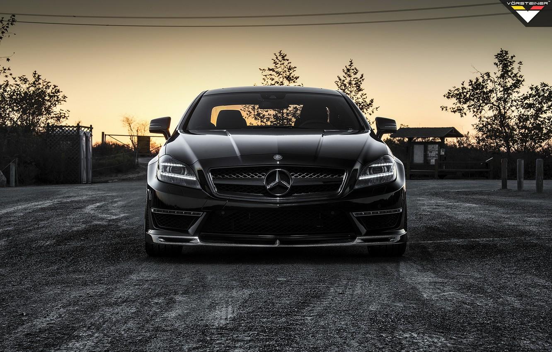 Photo wallpaper car, tuning, black, Mercedes, tuning, the front, amg, rechange, vorsteiner, mercedes-benz cls 63