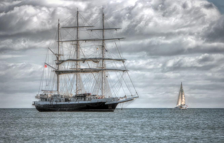 Photo wallpaper SEA, SHIP, HORIZON, The OCEAN, MAST, SAILS, CATAMARAN, SAILBOAT