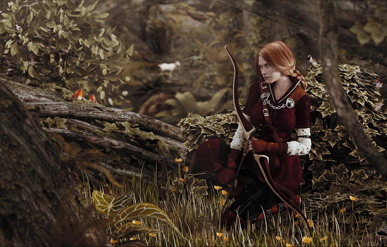 Photo wallpaper forest, girl, figure, goat, bow, Archer, fantasy, art, hunting, red, girl, fantasy, kite, forest, The …