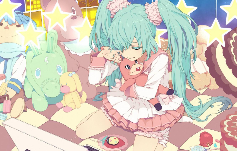 Photo wallpaper toys, tears, sweets, laptop, vocaloid, sitting, Hatsune Miku, stars, Vocaloid, blue hair
