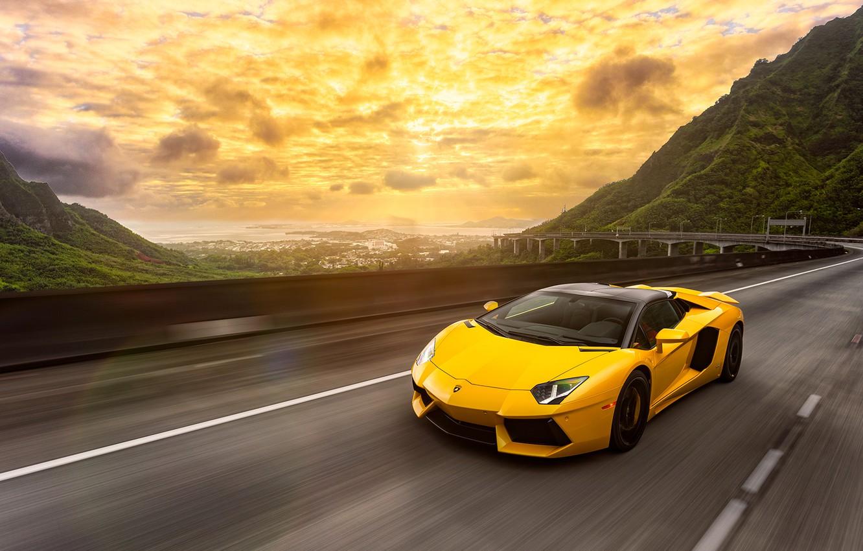 Photo wallpaper Lamborghini, Light, Speed, Front, Yellow, LP700-4, Aventador, Road, Supercar, Spoiler