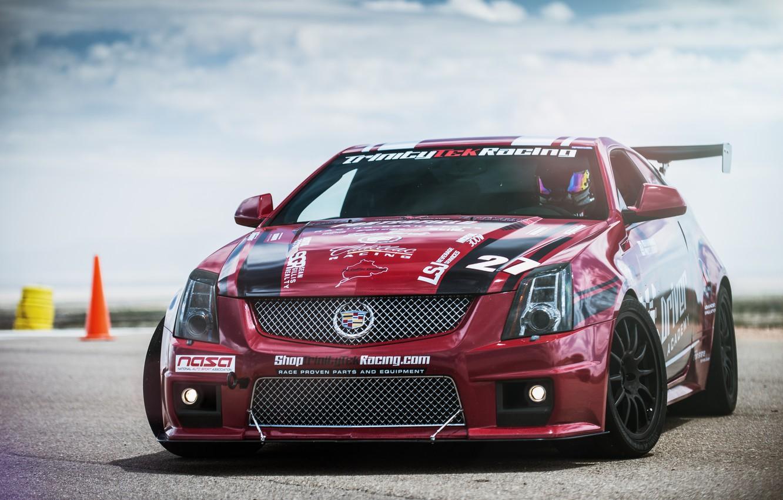 Photo wallpaper Cadillac, Red, CTS-V, Racing