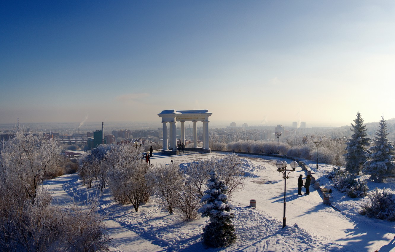 Photo wallpaper winter, the sky, snow, trees, the city, people, tree, spruce, horizon, frost, lantern, gazebo, hem, ...