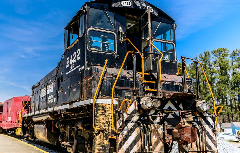 Photo wallpaper train, railroad, locomotive, train, railway, locomotive, Norfolk Southern 2422 EMD MP15DC