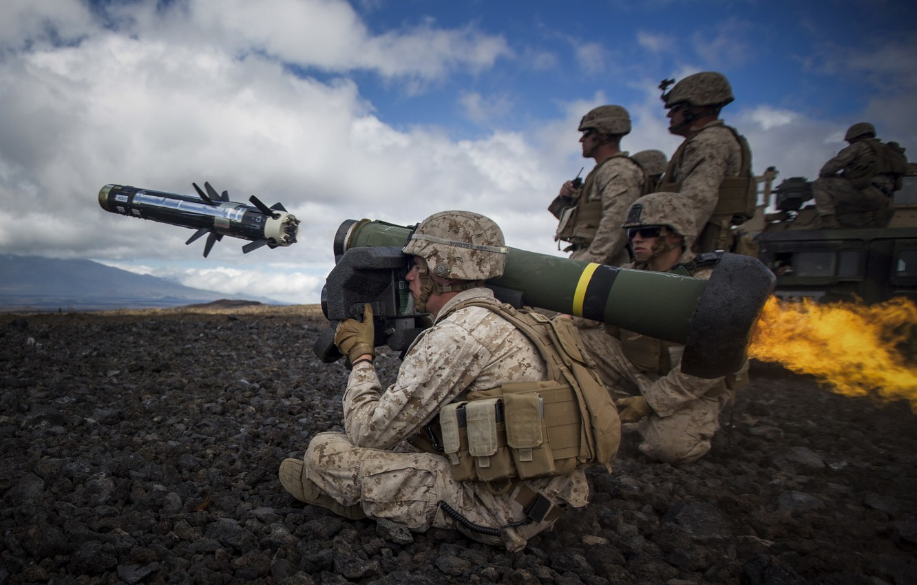 Photo wallpaper weapons, army, shot, soldiers, Javelin