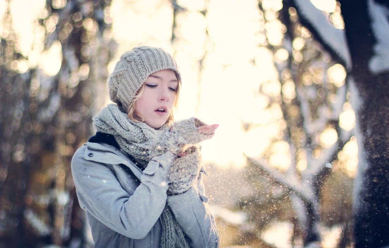 Photo wallpaper girl, snow, mood
