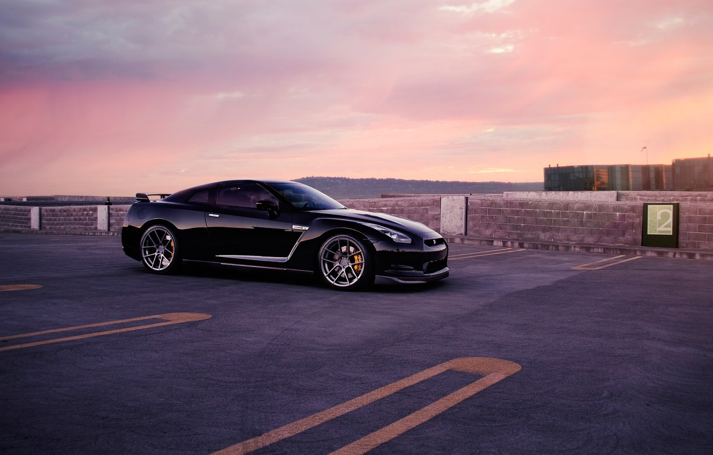 Photo wallpaper GTR, Nissan, Car, Wall, Front, Black, Sunset, Tuning, R35, AGWheels