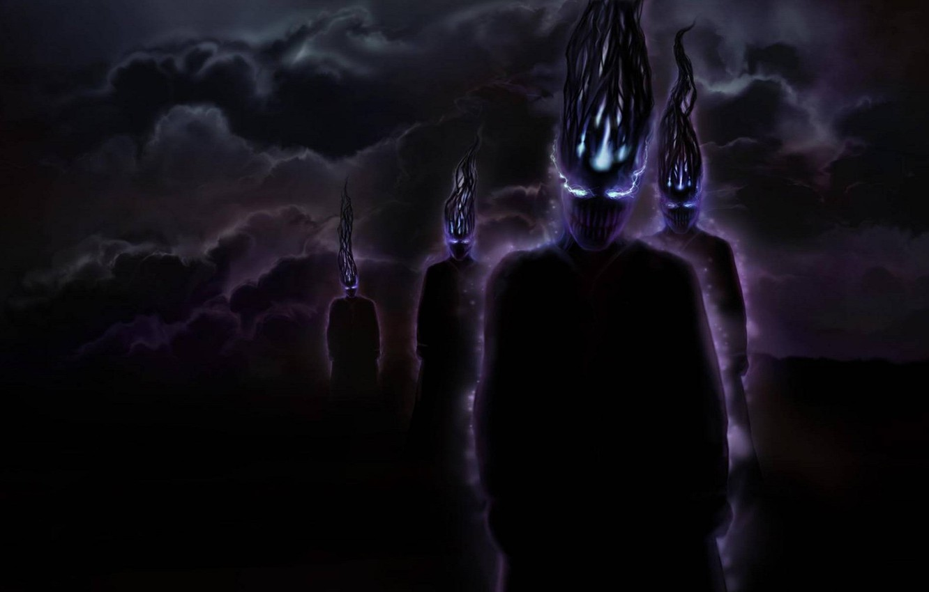 Photo wallpaper the sky, look, darkness, grin, night of the demons
