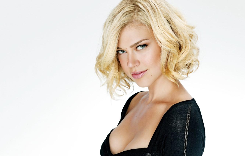 Photo wallpaper girl, dress, actress, black, blonde, white background, curls, Adrianne Palicki, Adrienne Paliki