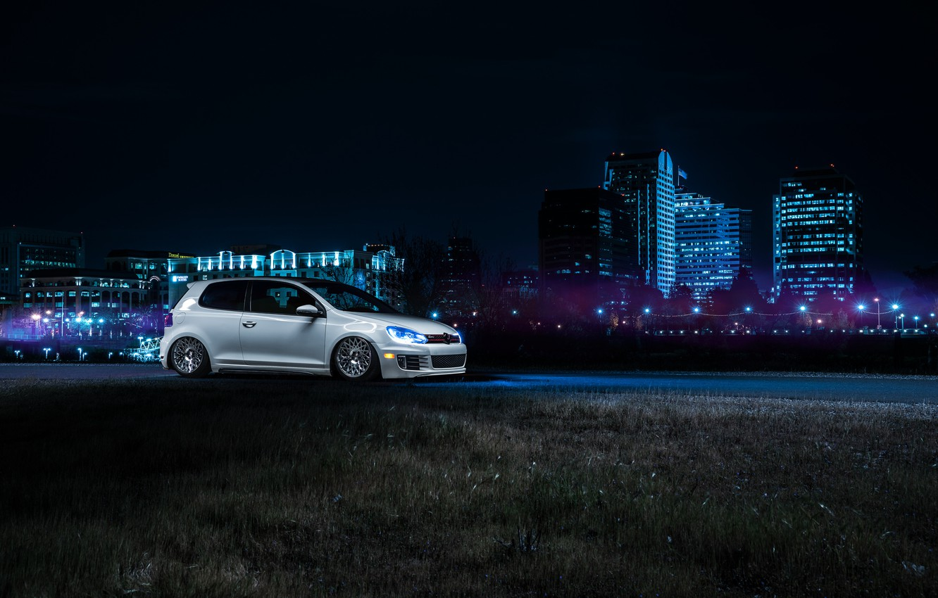 Photo wallpaper Volkswagen, Front, California, Downtown, GTI, MK6, Stance, Wheels, Ligth, Nigth, VSP