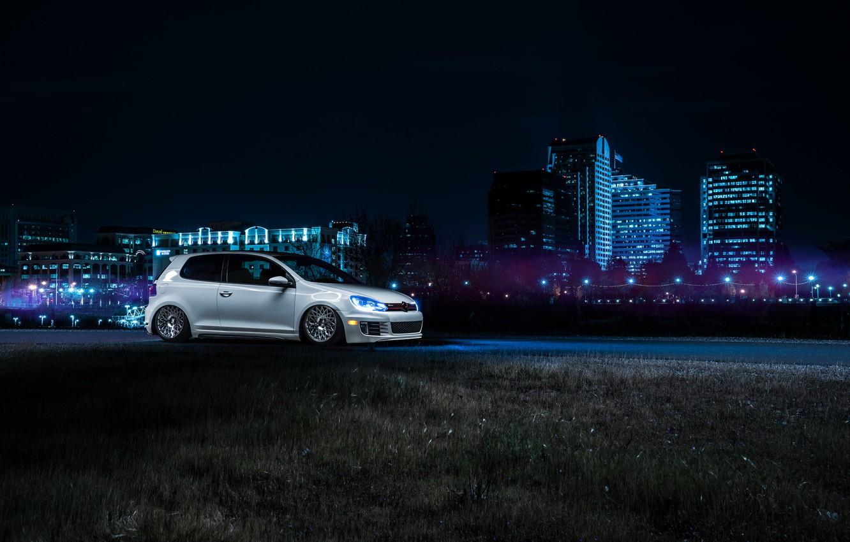 Photo wallpaper Volkswagen, Front, California, Downtown, GTI, MK6, Stance, Wheels, Ligth, Nigth, VSP