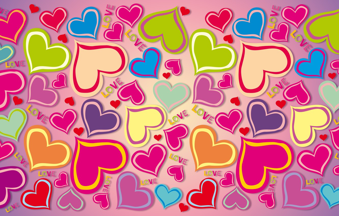 Photo wallpaper love, colorful, hearts, rainbow, love, background, hearts, gradient