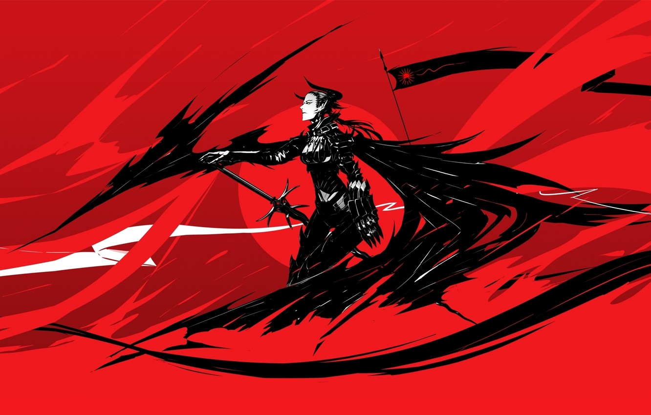 Wallpaper Girl Red Black Figure Sword Anime Flag The Demon