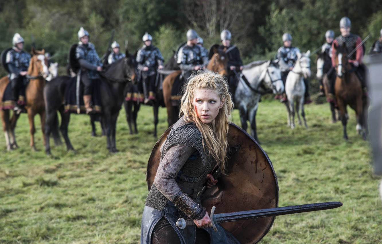 Photo wallpaper sword, the series, battle, shield, drama, Vikings, historical, The Vikings, Katheryn Winnick, Lagertha