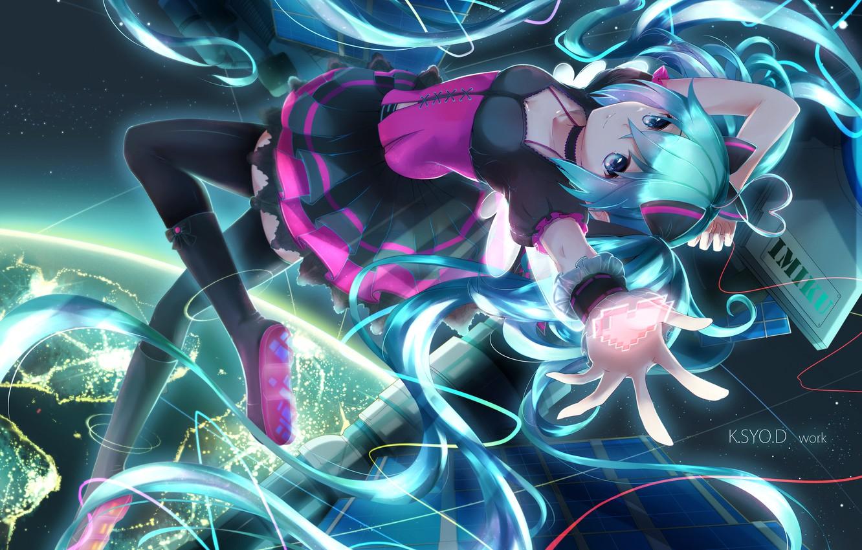Photo wallpaper girl, lights, earth, planet, anime, art, wire, vocaloid, hatsune miku, asahi kuroi