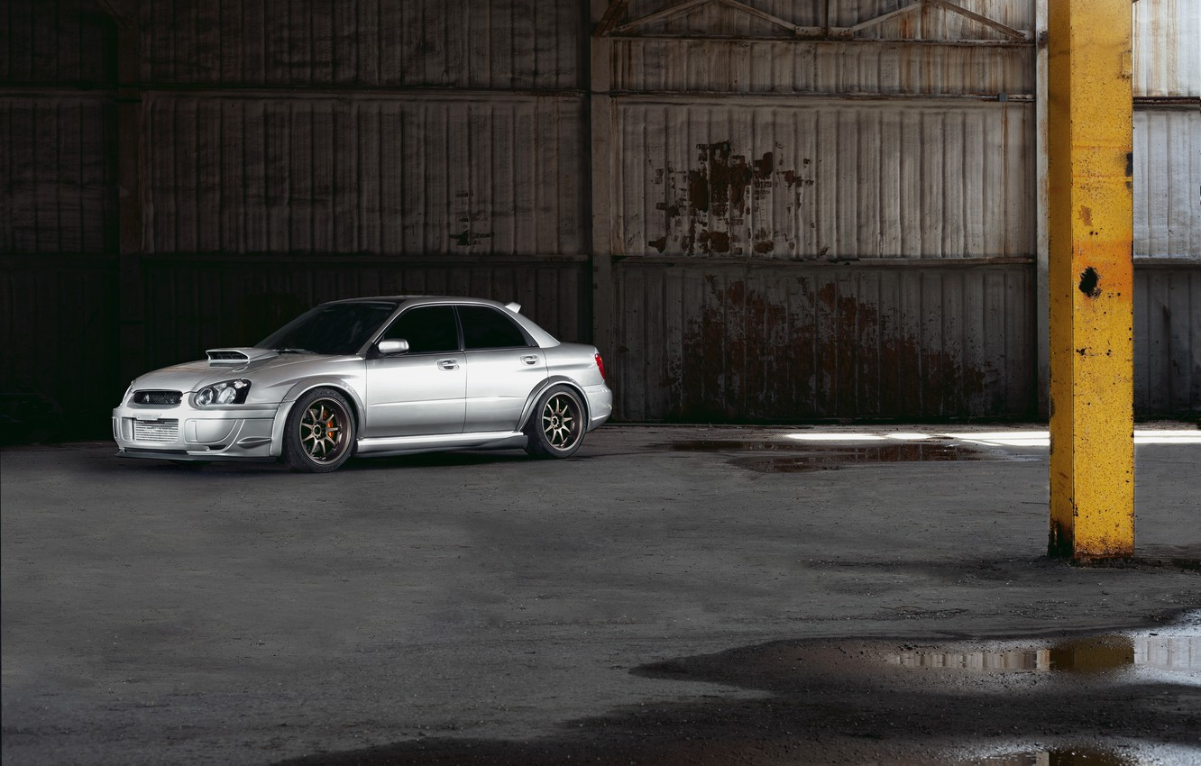 Photo wallpaper subaru, wrx, impreza, sti, 2003, Silver