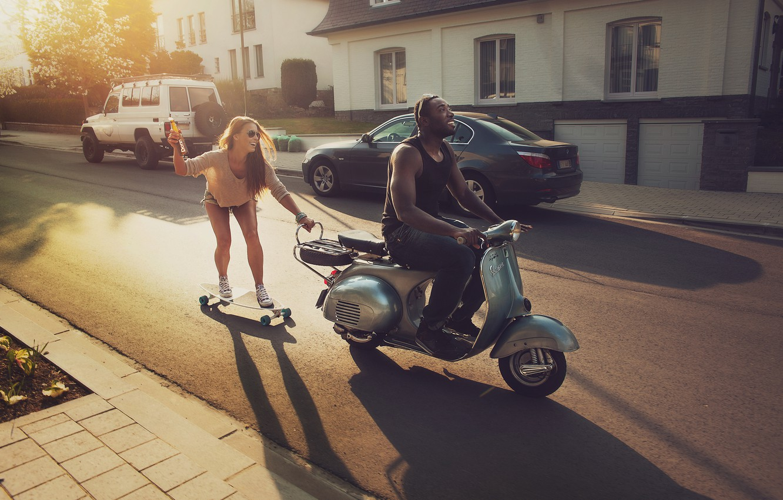Photo wallpaper road, girl, joy, machine, black, home, moped, guy, skate