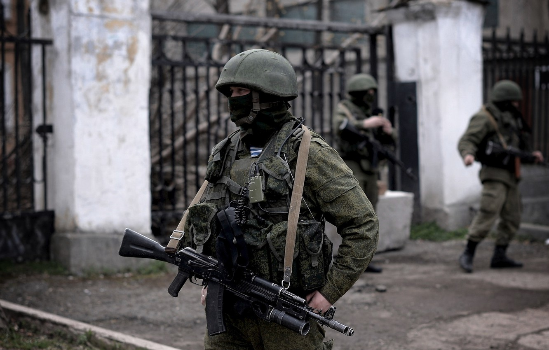 Photo wallpaper mask, machine, soldiers, helmet, Russia, Crimea, military, Sevastopol, polite people, airborne