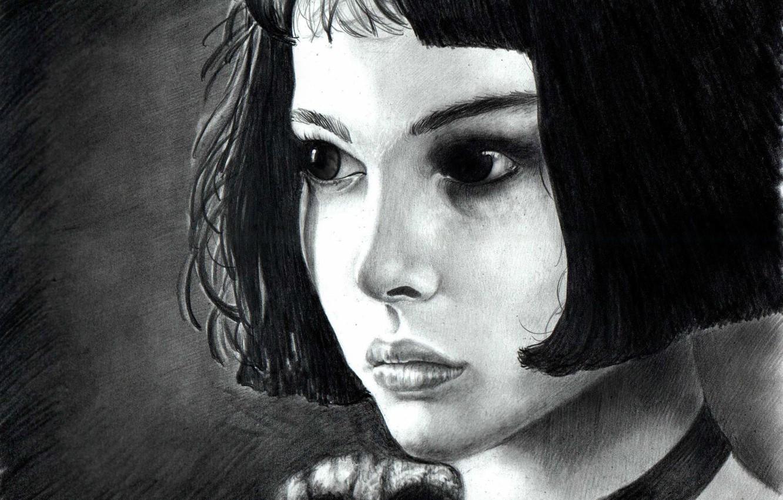 Photo wallpaper eyes, look, hair, portrait, Figure, actress, black and white, girl, Natalie Portman, Leon, Matilda, Leon