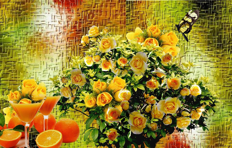 Photo wallpaper roses, bouquet, Still life