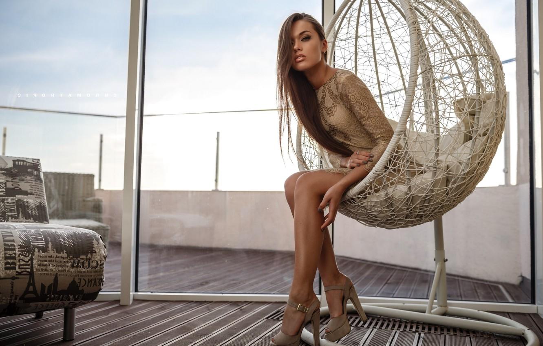 Photo wallpaper feet, hair, chair, window, Angelina Petrova