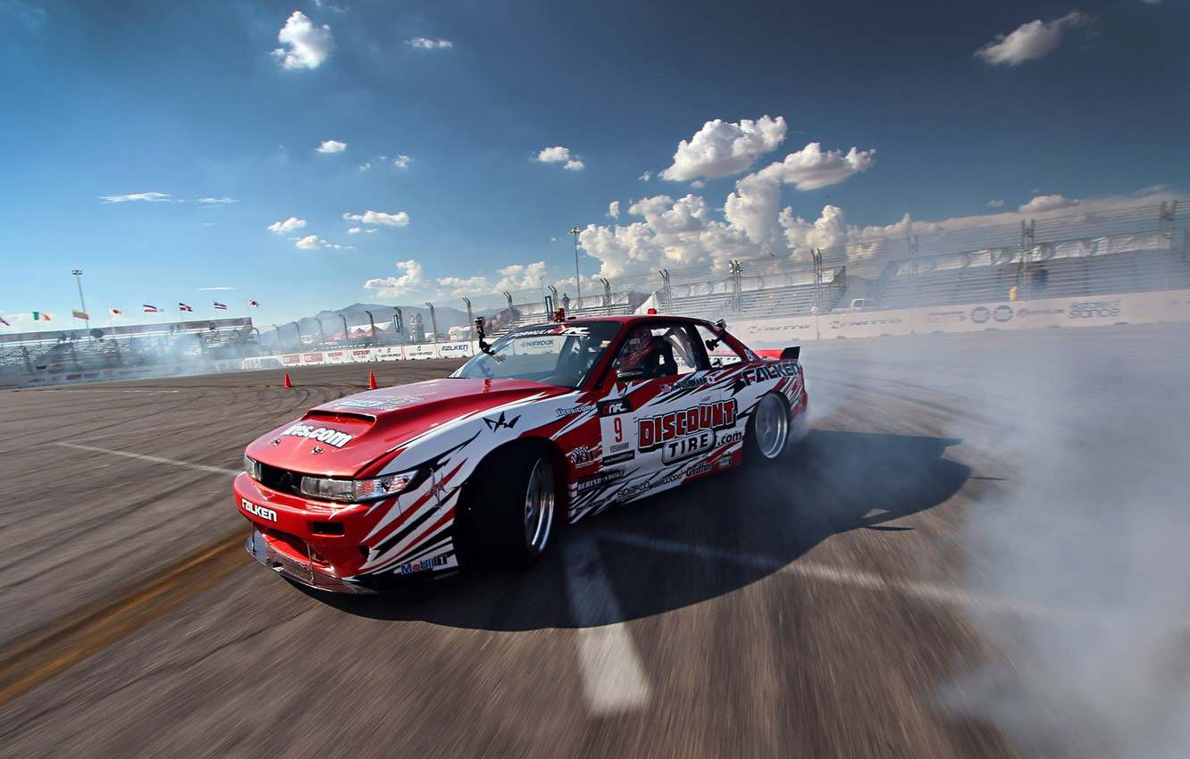 Photo wallpaper Silvia, Nissan, Red, Drift, Clouds, Smoke, Tuning, S13, Competition