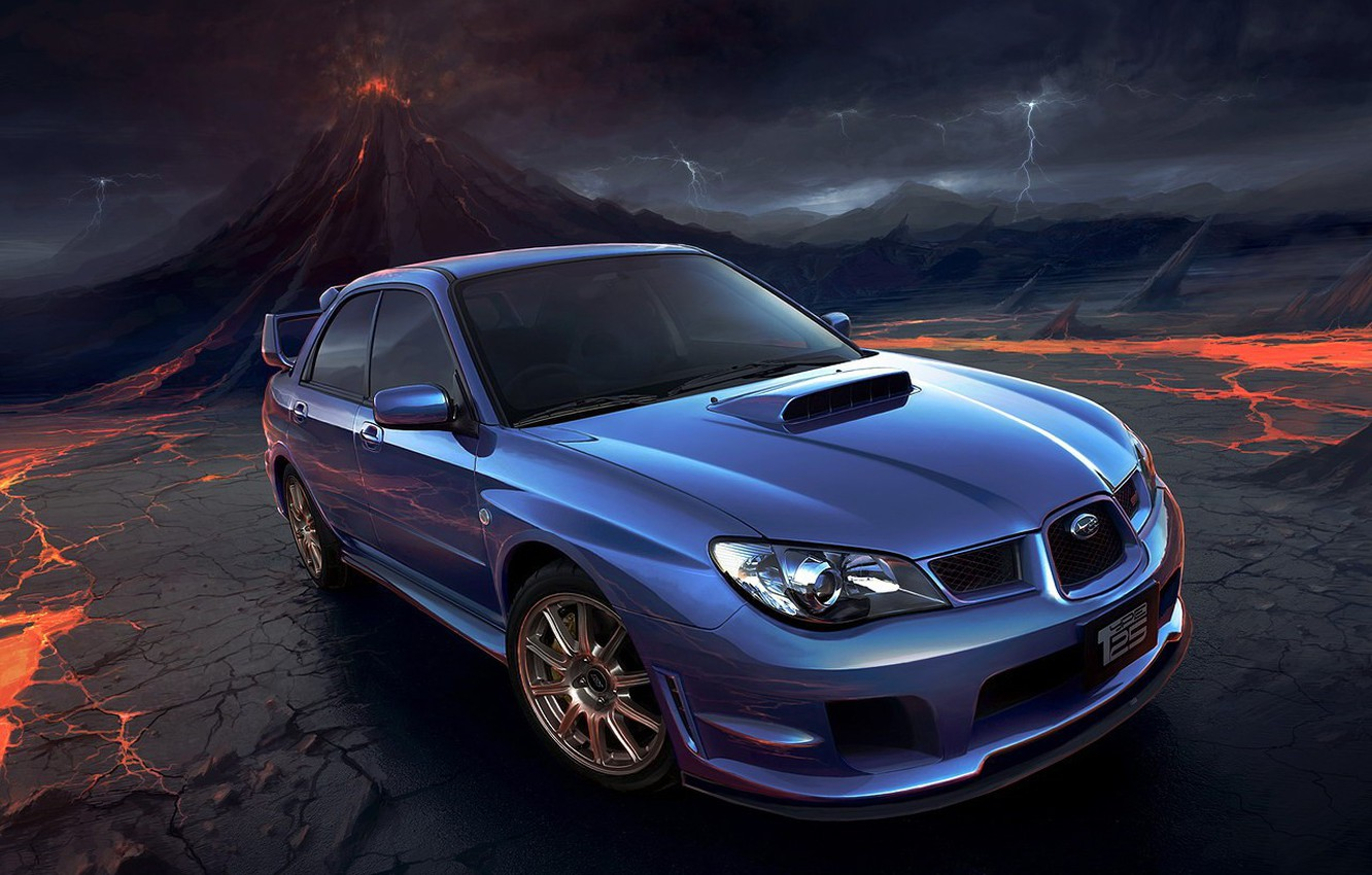 Photo wallpaper zipper, Auto, Subaru, Impreza, the volcano