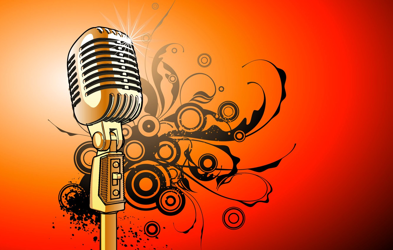 Photo wallpaper vector, microphone, sounds