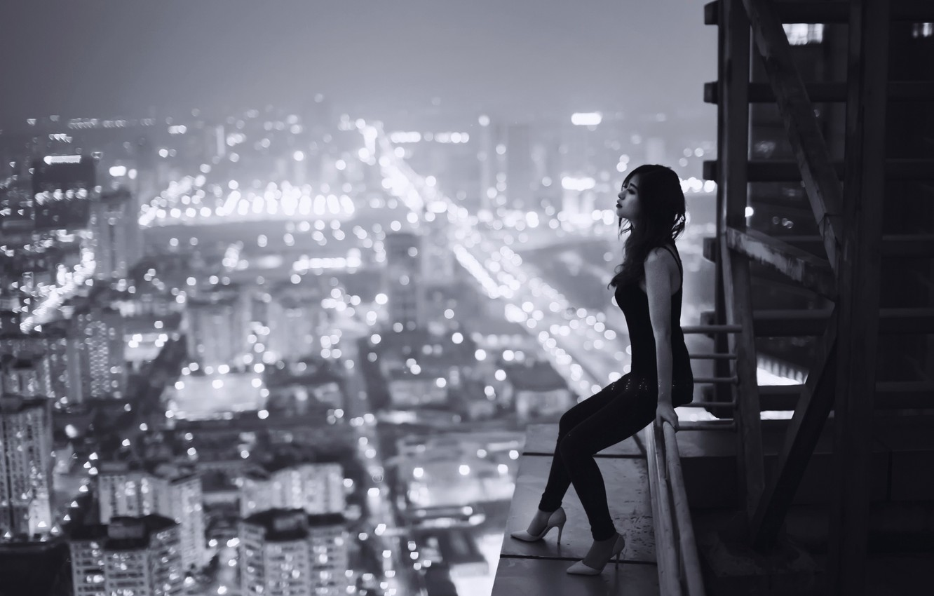 Photo wallpaper roof, girl, night, the city, loneliness, sadness, height, Vietnam, loneliness, sadness