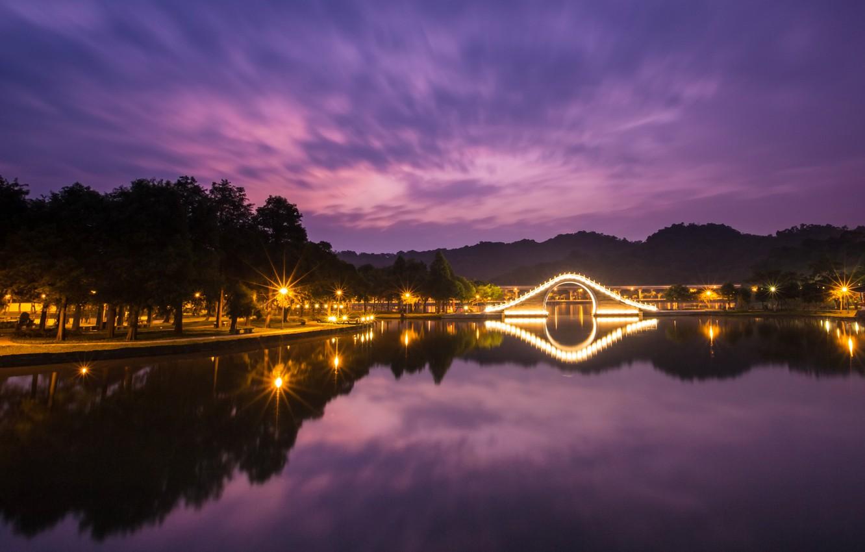Photo wallpaper the sky, clouds, light, trees, night, lights, lake, reflection, backlight, lights, China, Taiwan, the bridge, …