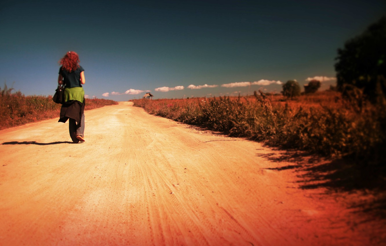 Photo wallpaper girl, road, alone, walking
