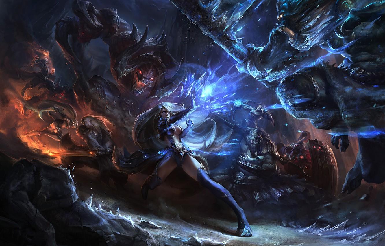 Photo wallpaper weapons, girls, magic, monsters, battle, League of Legends