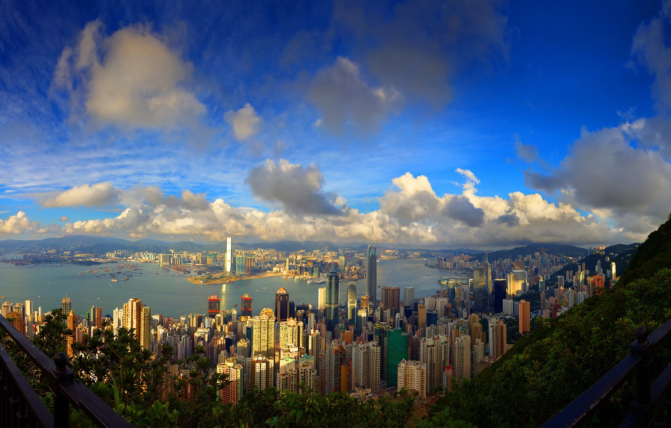 Photo wallpaper sea, the sky, mountains, the city, photo, Wallpaper, building, home, skyscrapers, picture, megapolis, buildings