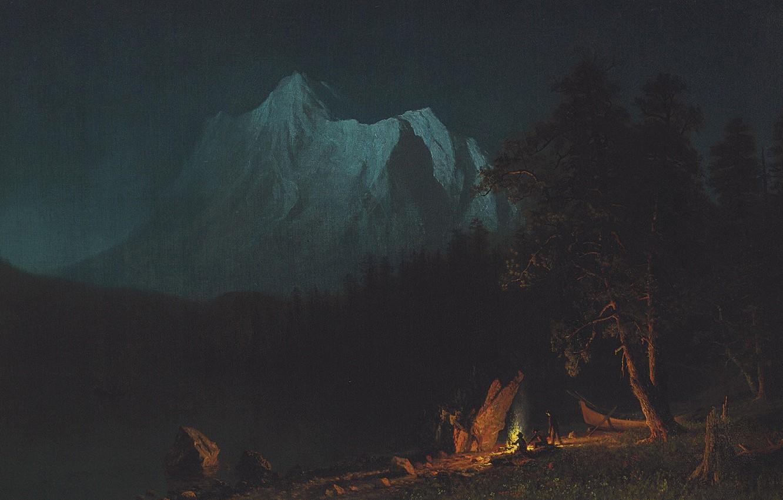 Photo wallpaper landscape, mountains, night, picture, Albert Bierstadt, Mountain Landscape in the Moonlight