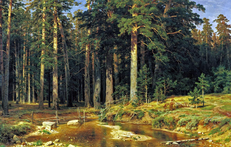 Photo wallpaper forest, picture, Shishkin, Ship
